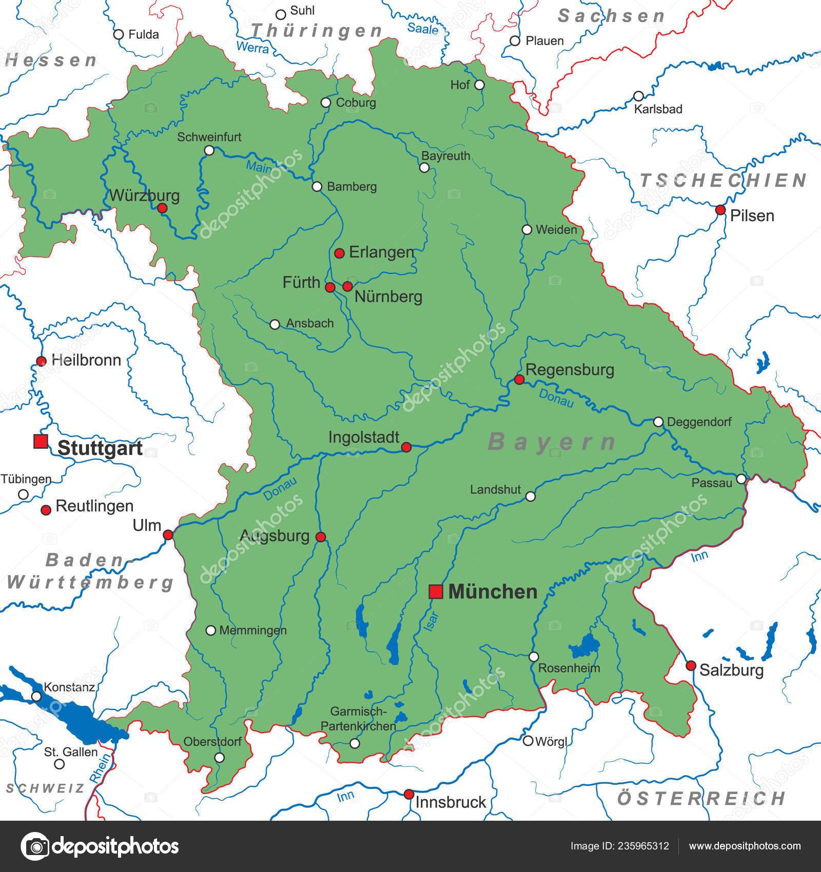 Karte Bayern.Bayern Karte Von Deutschland Hoch Detailliert Stockvektor Ii