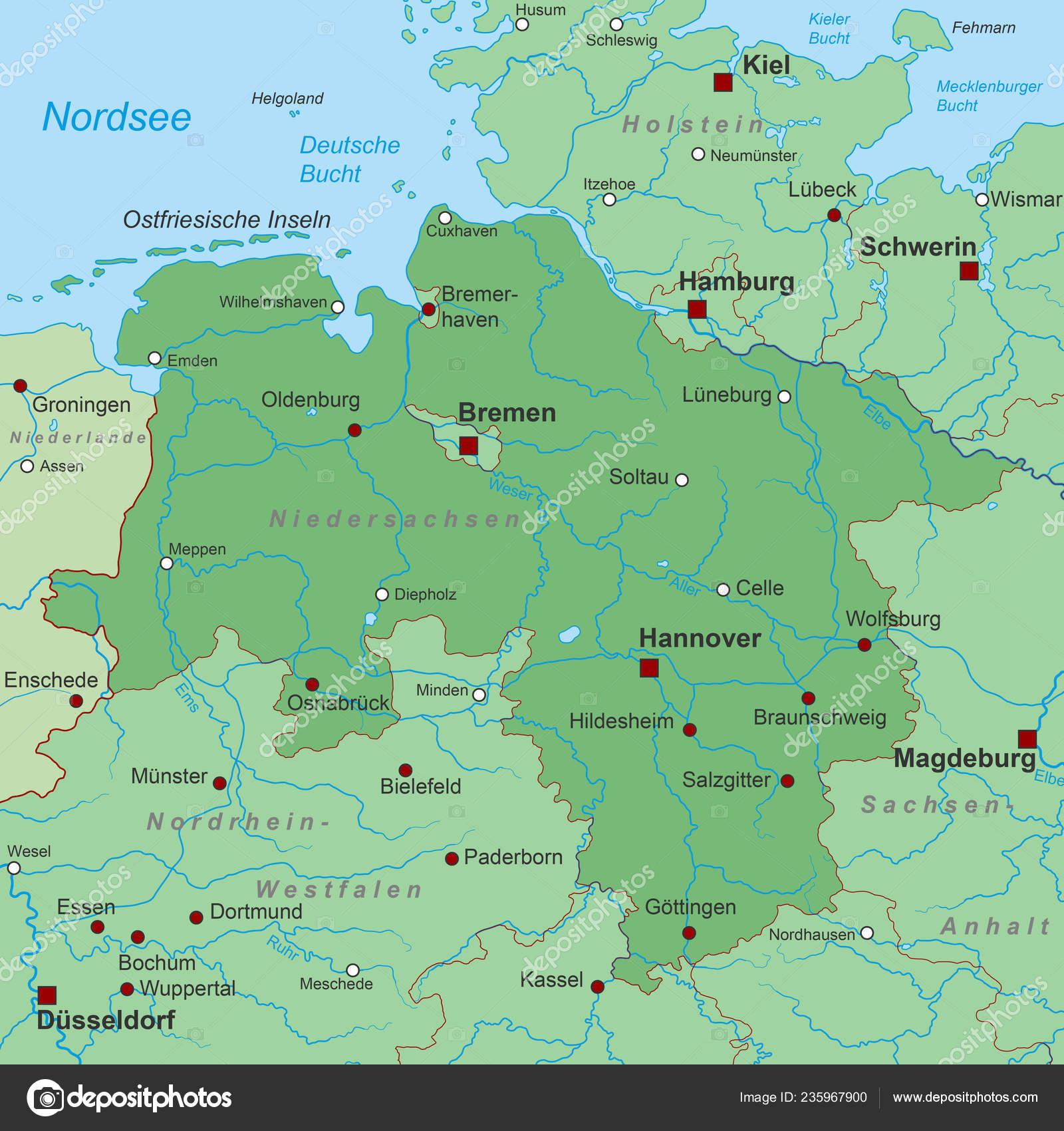 Karte Nordseeküste Niedersachsen.Niedersachsen Karte Von Deutschland Hoch Detailliert Stockvektor