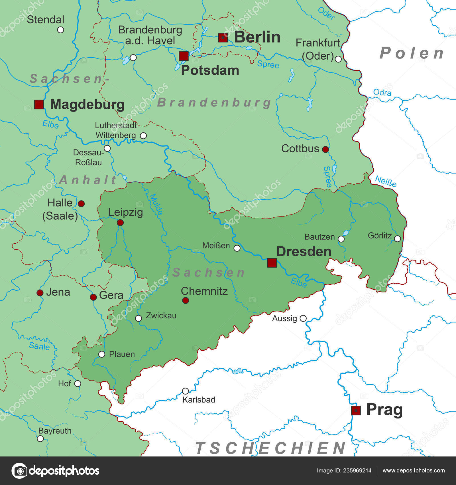 Sachsen Map Germany High Detailed Stock Vector C Ii Graphics