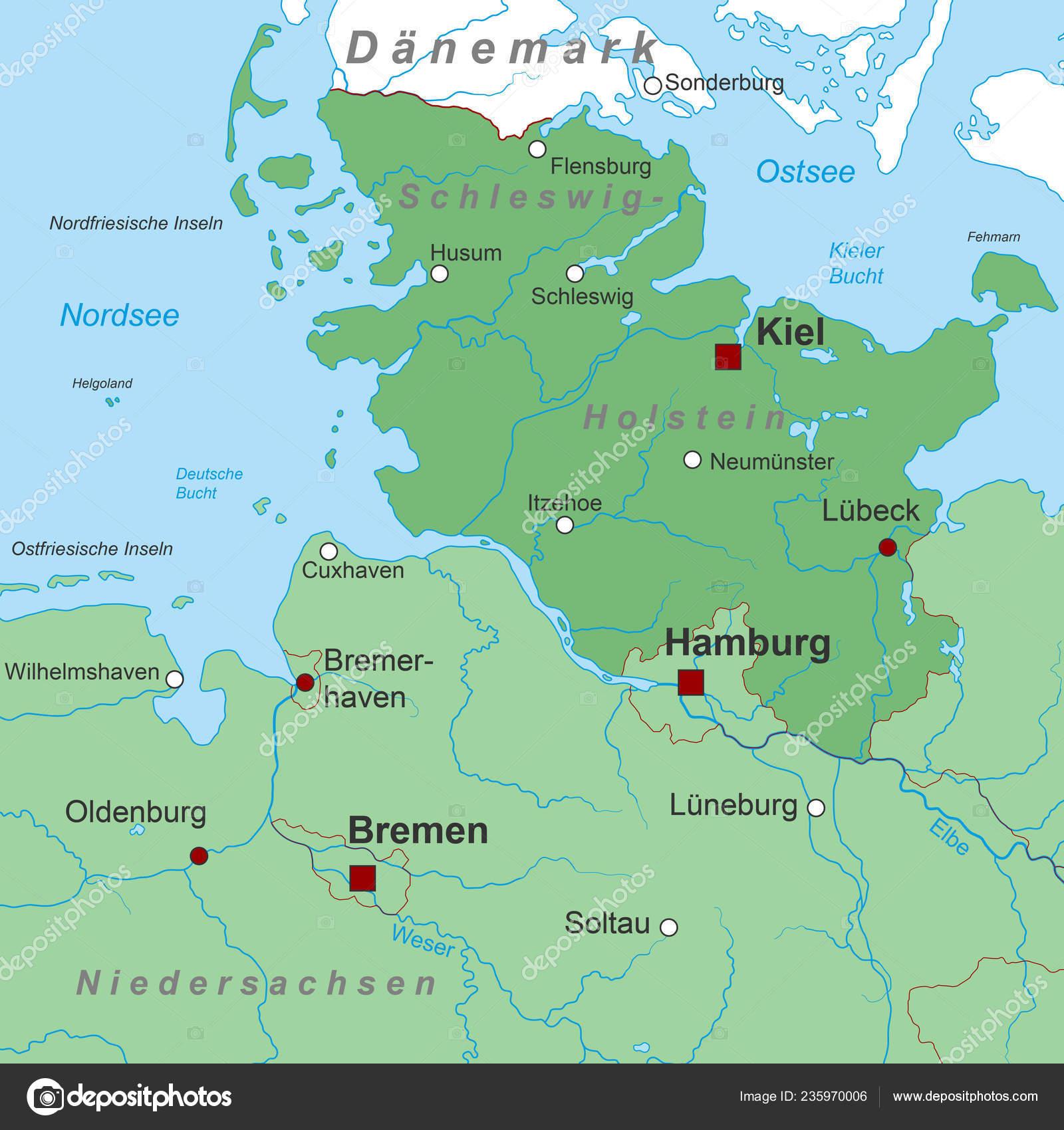 Schleswig Holstein Karte.Schleswig Holstein Karte Von Deutschland Hoch Detailliert