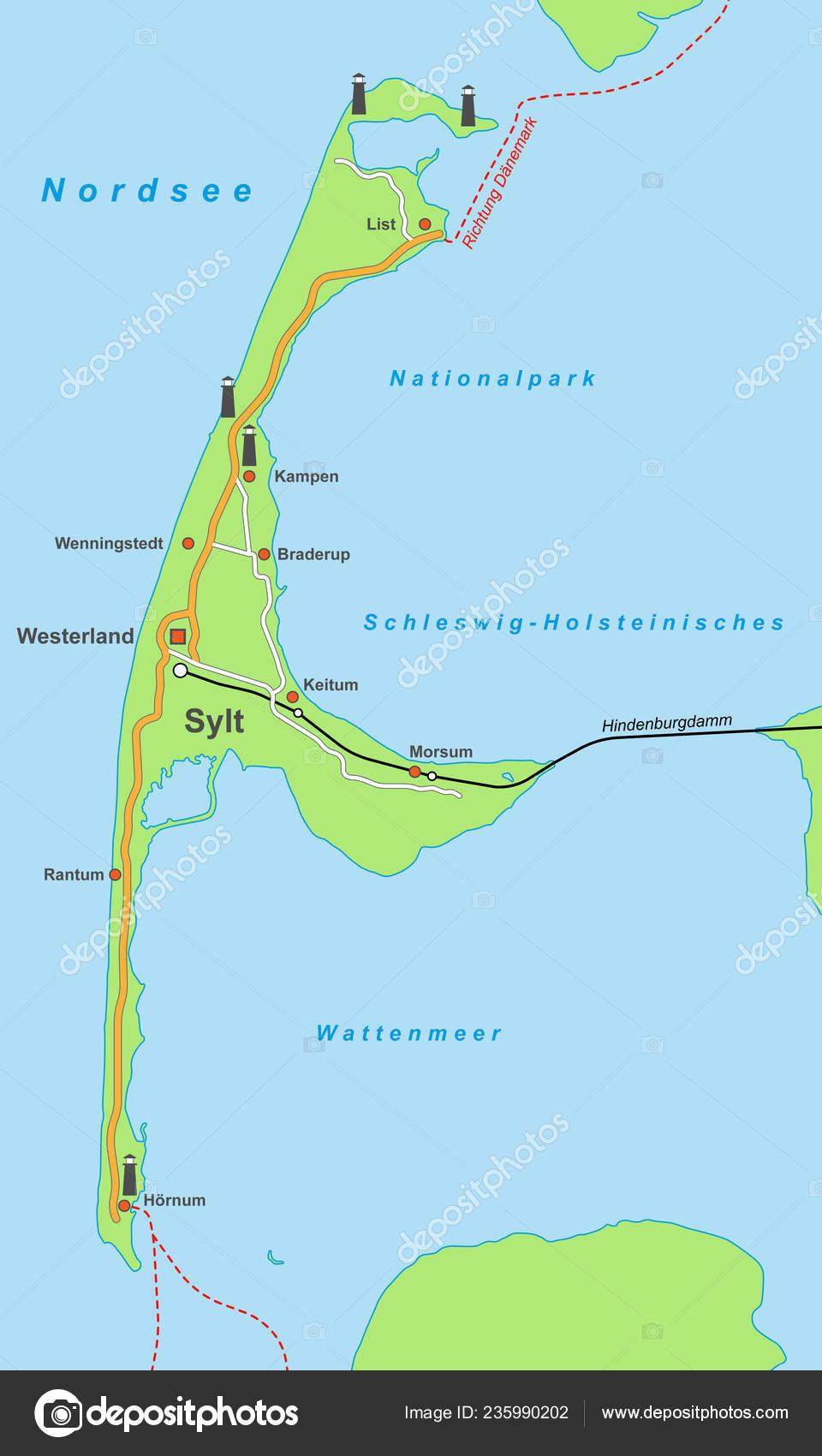 Karte Von Sylt.Deutschland Karte Der Insel Sylt Stockvektor Ii Graphics 235990202