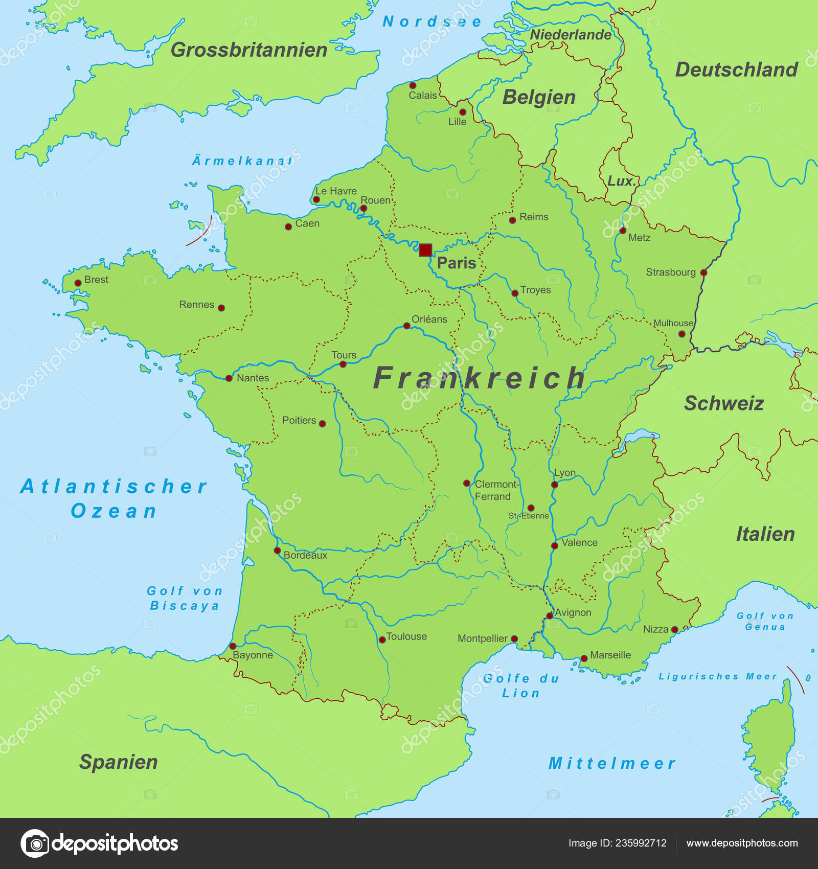 Map Of France Calais.France Map France High Detailed Stock Vector C Ii Graphics 235992712