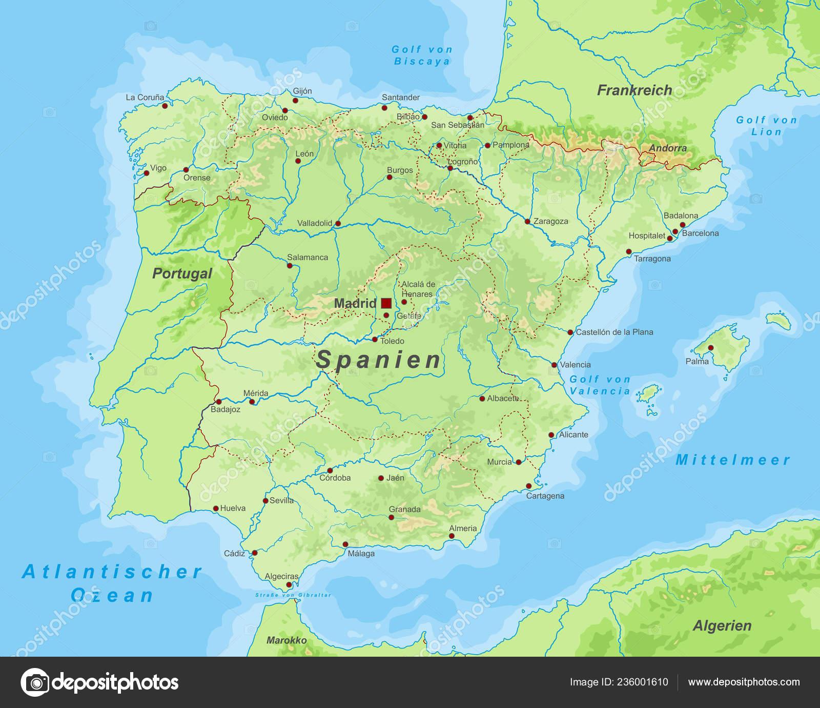 Carte Espagne Pays Basque Detaillee.Espagne Carte Espagne Haut Detaille Image Vectorielle Ii