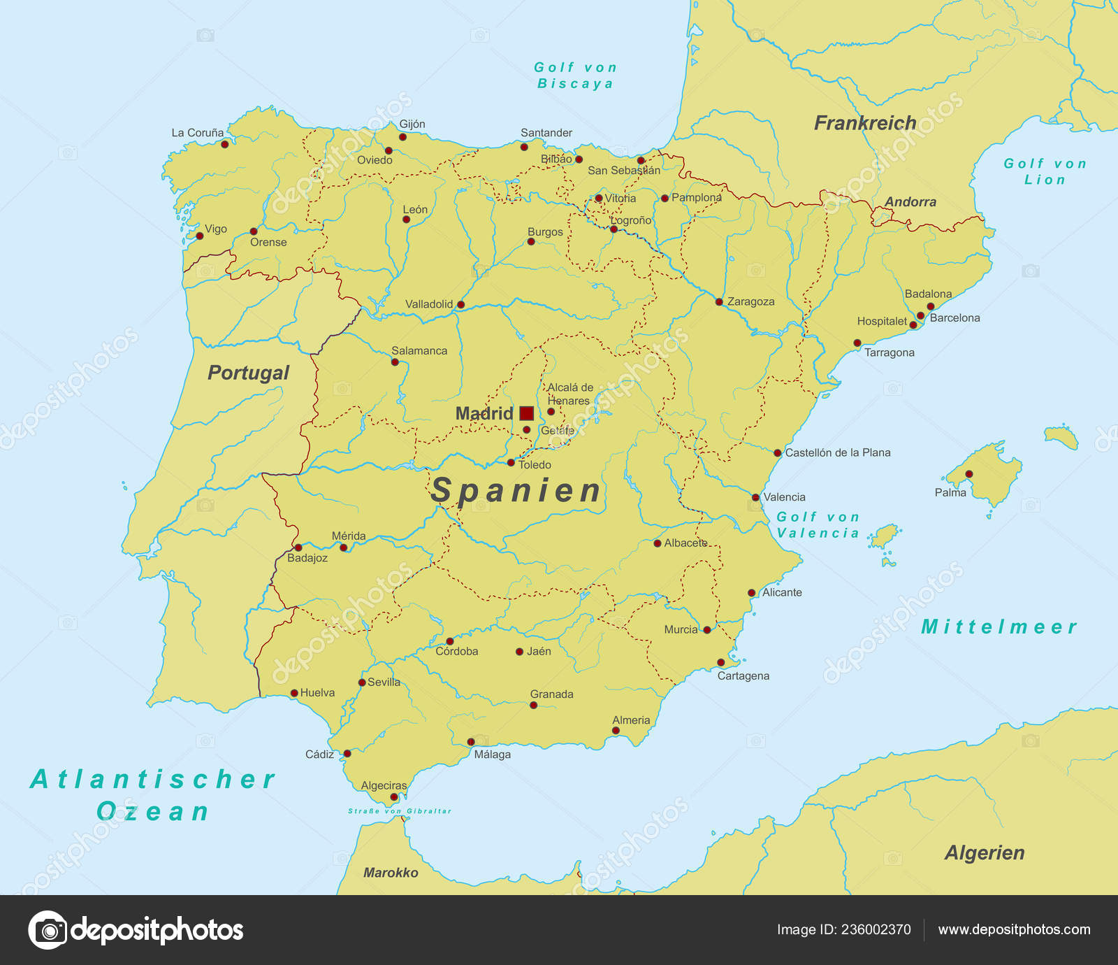 Detailed Map Of Spain.Spain Map Spain High Detailed Stock Vector C Ii Graphics 236002370