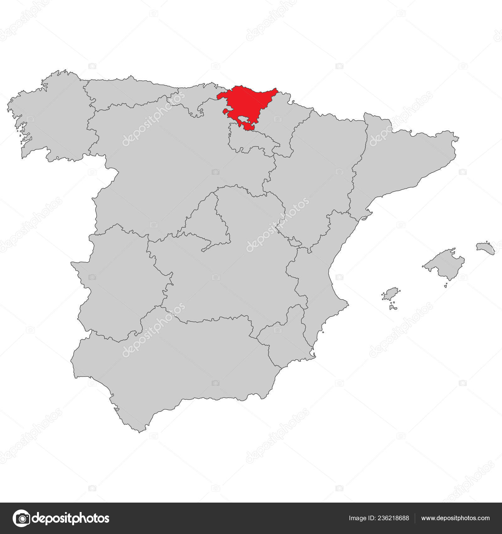 Basque Map Of Spain.Spain Map Spain Basque Country High Detailed Stock Vector C Ii