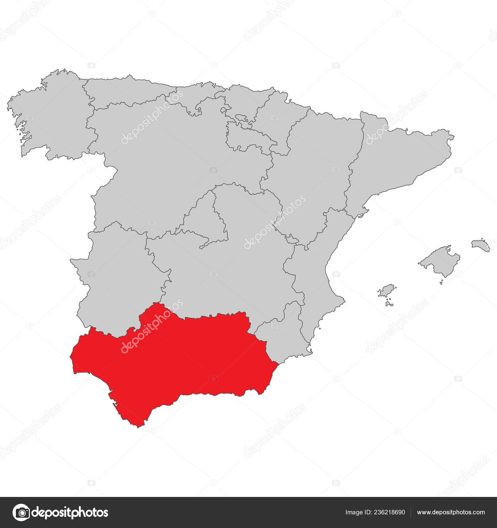 Spain Map Spain Andalusia High Detailed Stock Vector C Ii