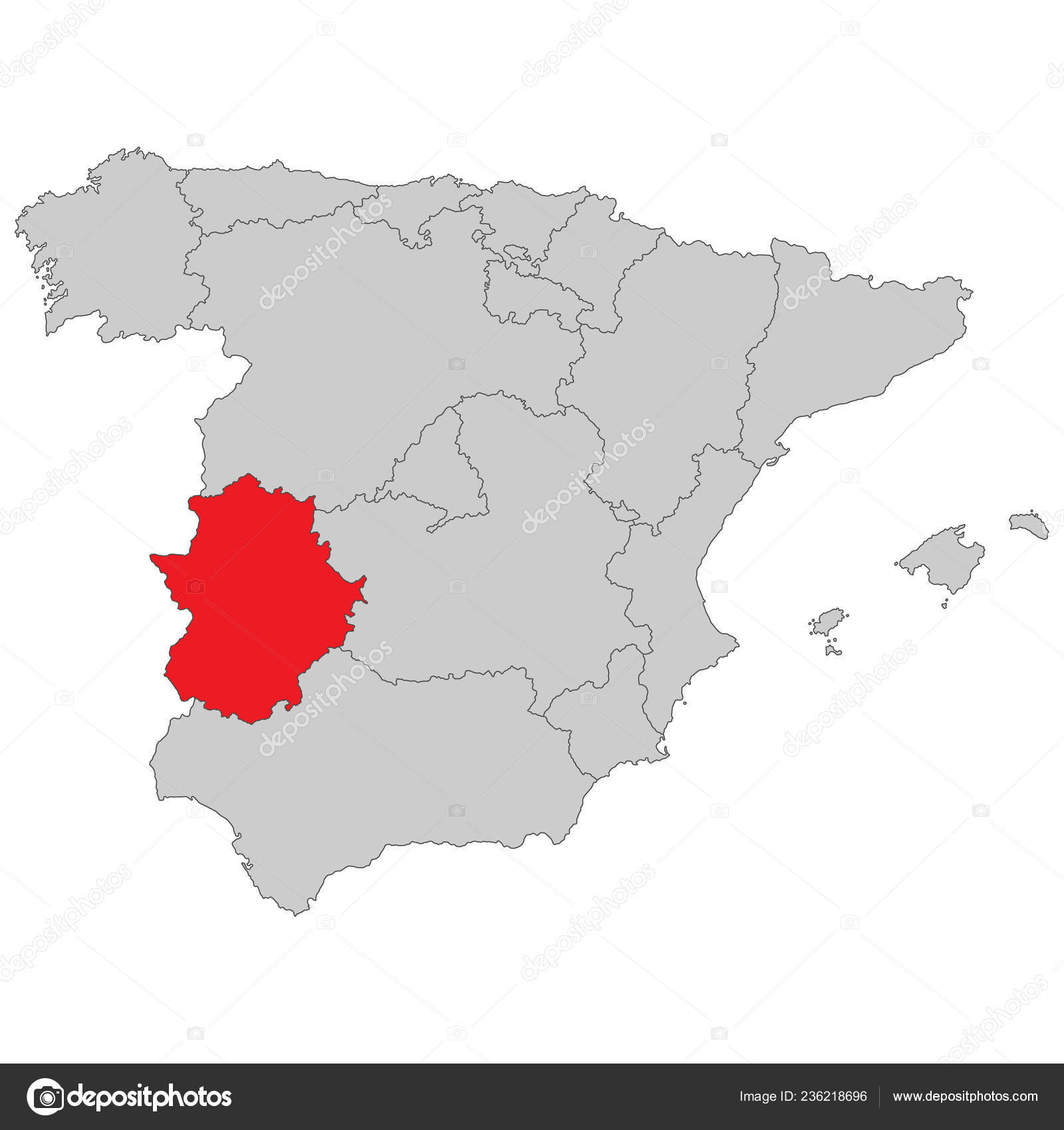 Map Of Spain Extremadura.Spain Map Spain Extremadura High Detailed Stock Vector C Ii