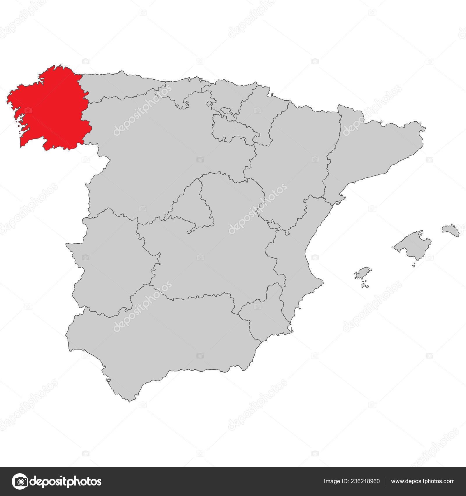 Mapa De Galicia España.Espana Mapa Espana Galicia Alta Detallada Vector De Stock