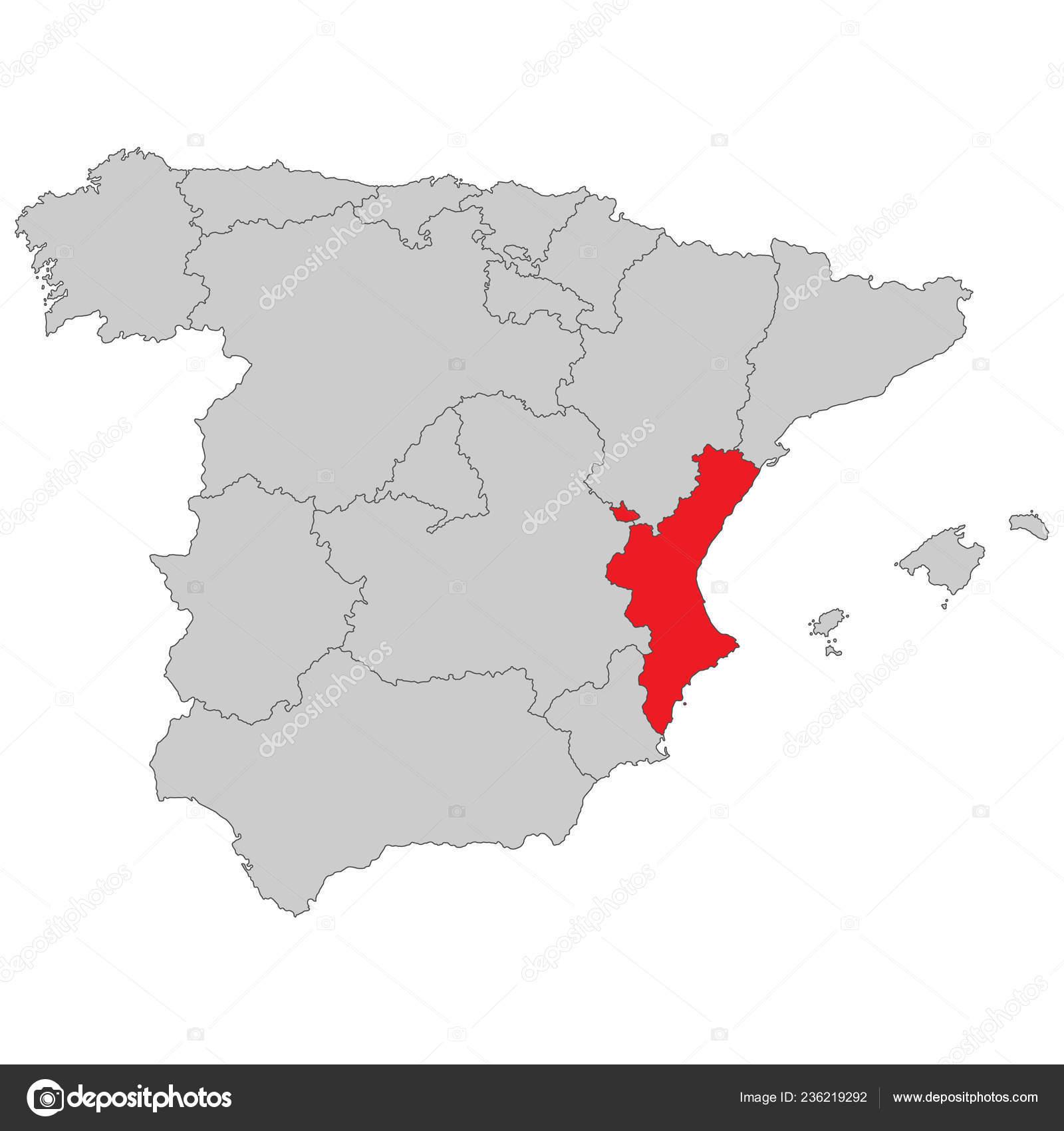 Mapa De Valencia España.Espana Mapa Valencia Espana Alta Detallada Vector De Stock