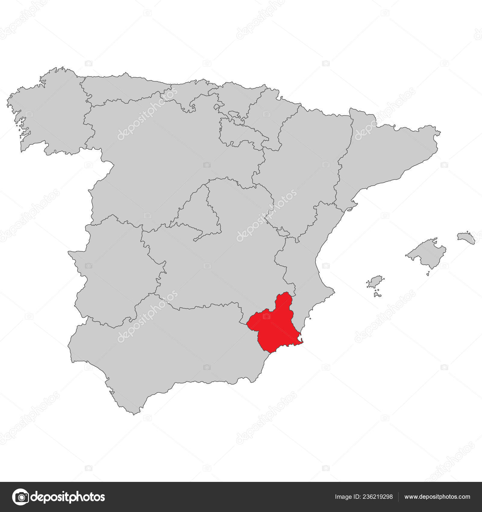 Map Of Spain Murcia.Spain Map Spain Murcia High Detailed Stock Vector C Ii