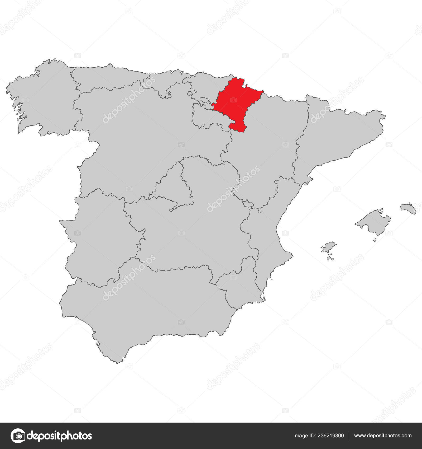 Spain Map Spain Navarra High Detailed Stock Vector C Ii Graphics