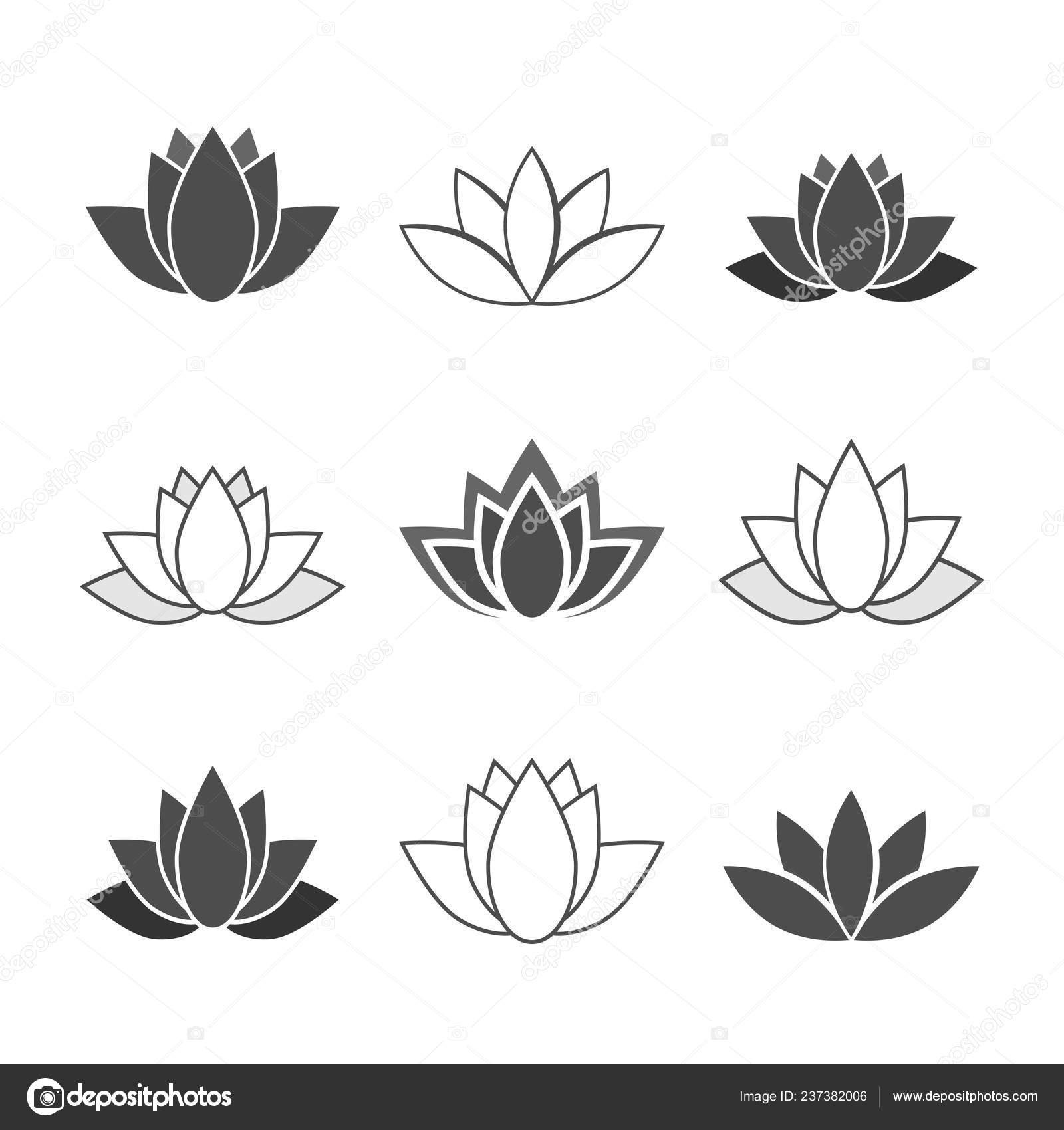 Lotus Flower Illustrations Editable Icons Stock Vector Ii