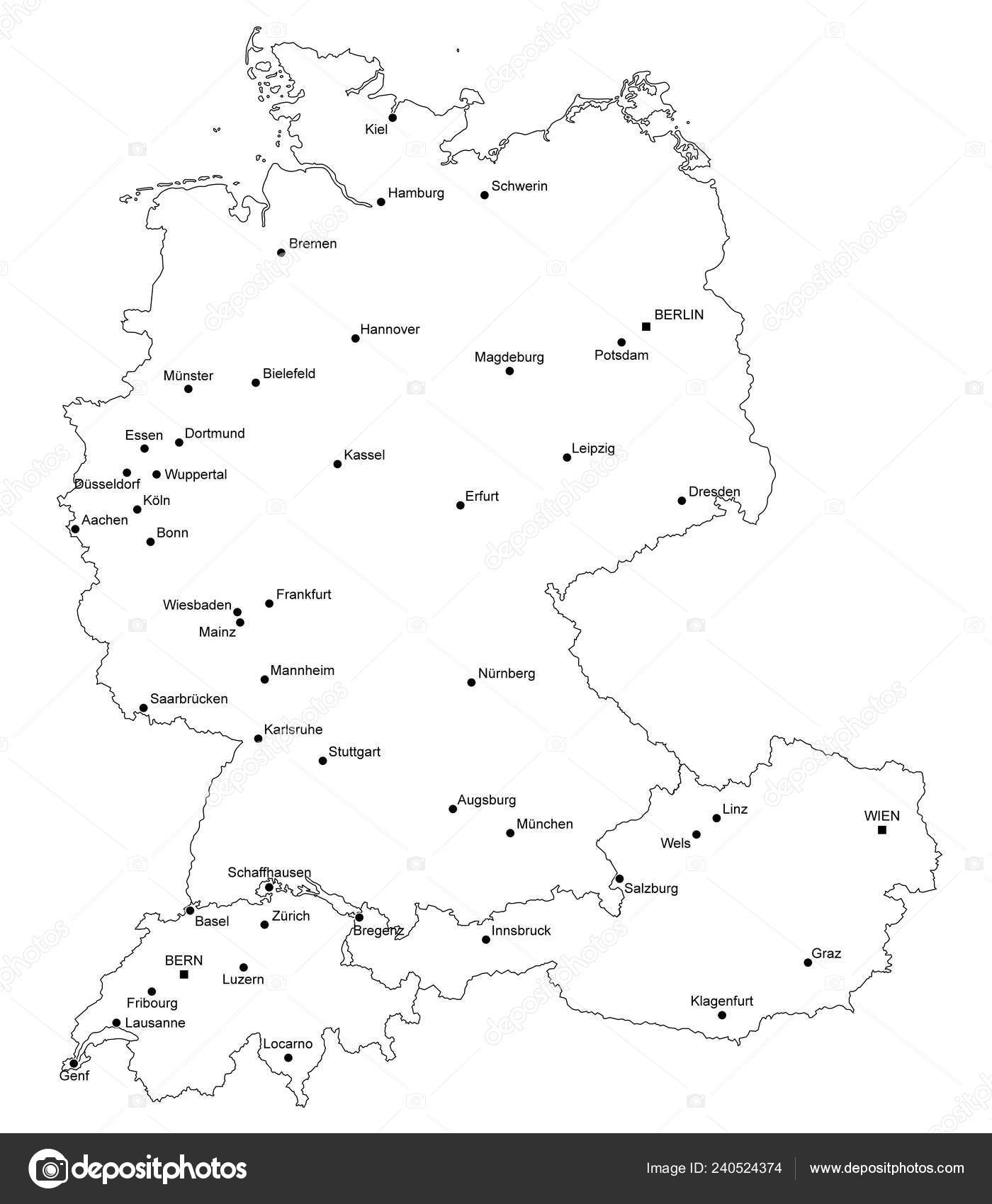 Map Germany Switzerland Austria — Stock Vector © ii-graphics #240524374