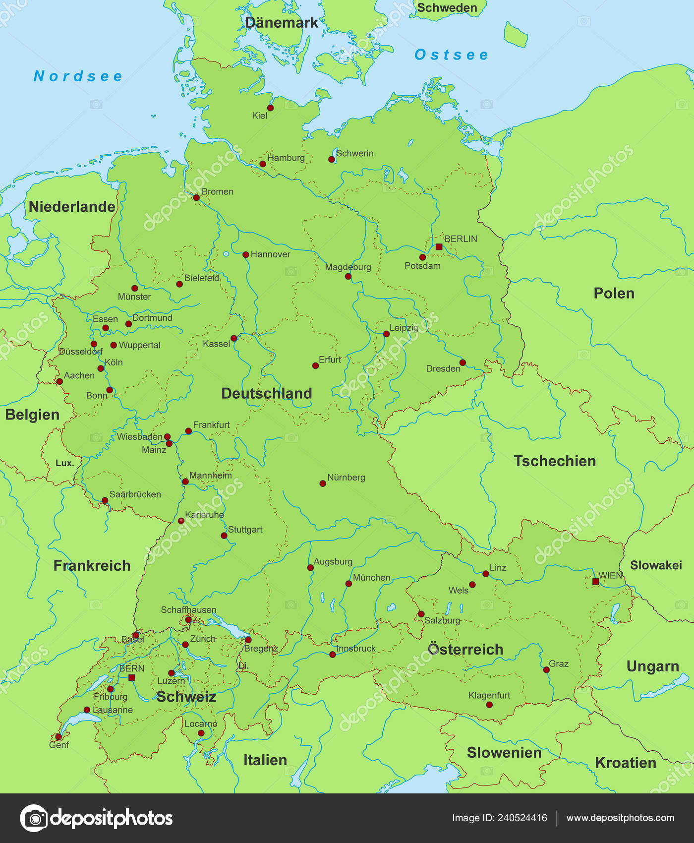Map of germany switzerland and austria | Map Germany ...