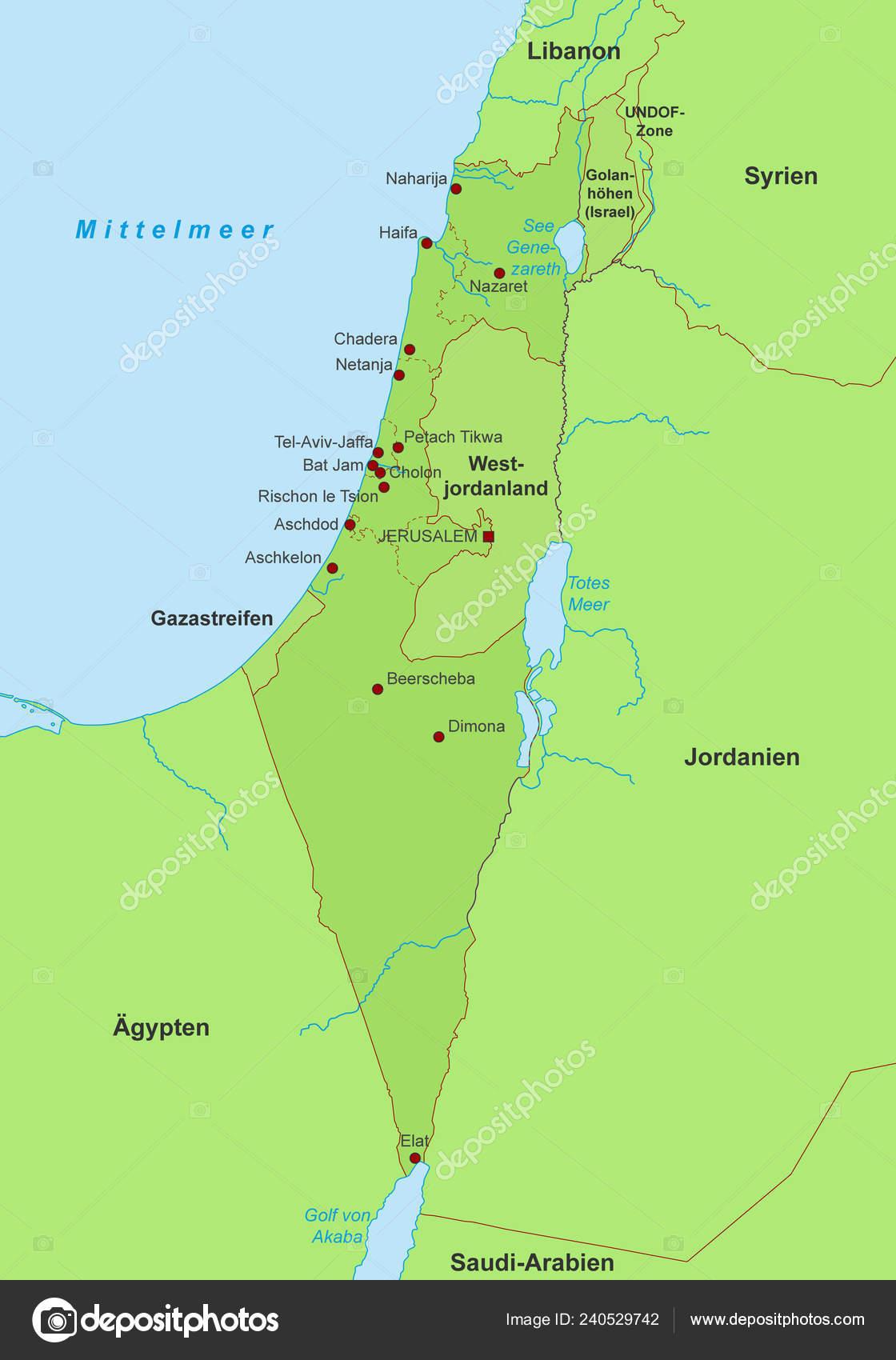 Israel Karte.Karte Von Israel Detaillierte Vektor Datei Stockvektor Ii