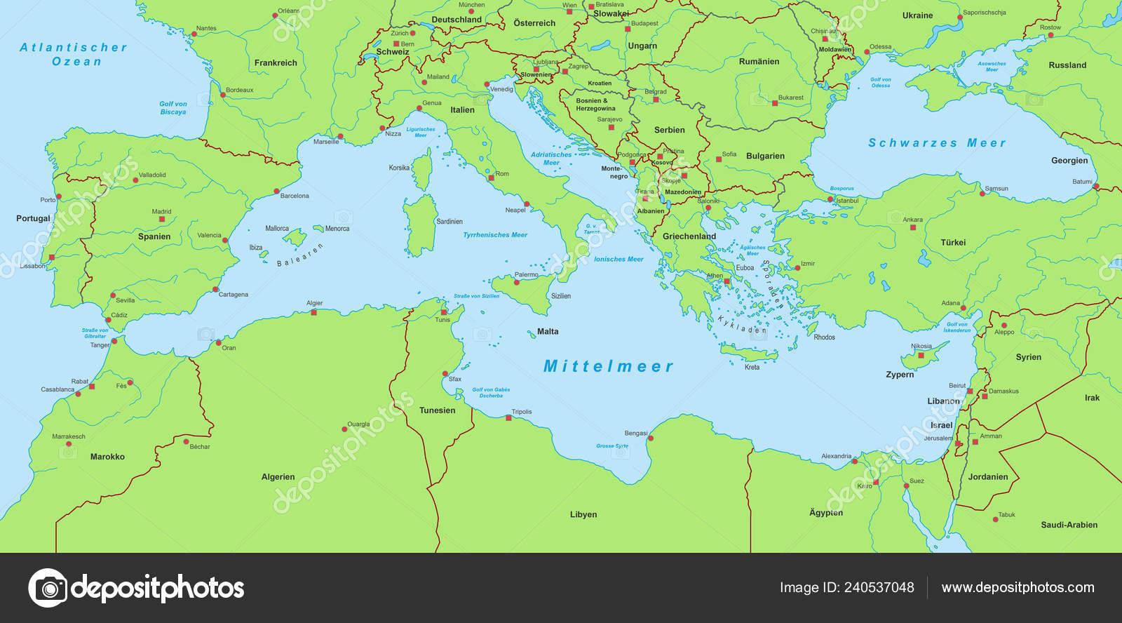 Mapa Del Mar Mediterraneo.Mapa Mar Mediterraneo Vector De Stock C Ii Graphics 240537048
