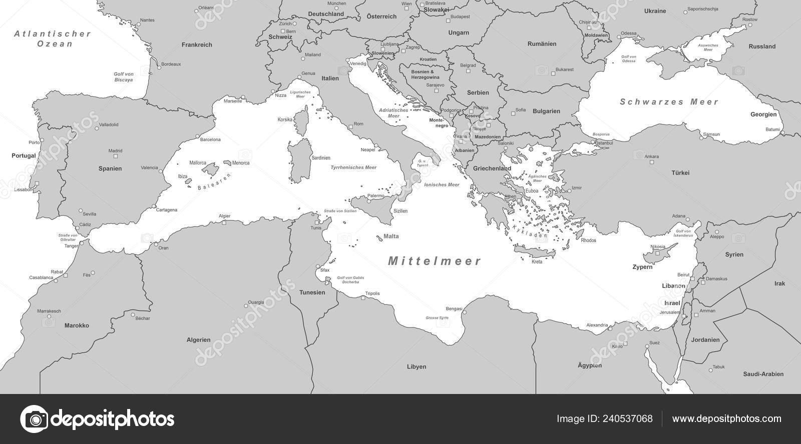 Mapa Del Mar Mediterraneo.Mapa Mar Mediterraneo Archivo Imagenes Vectoriales C Ii