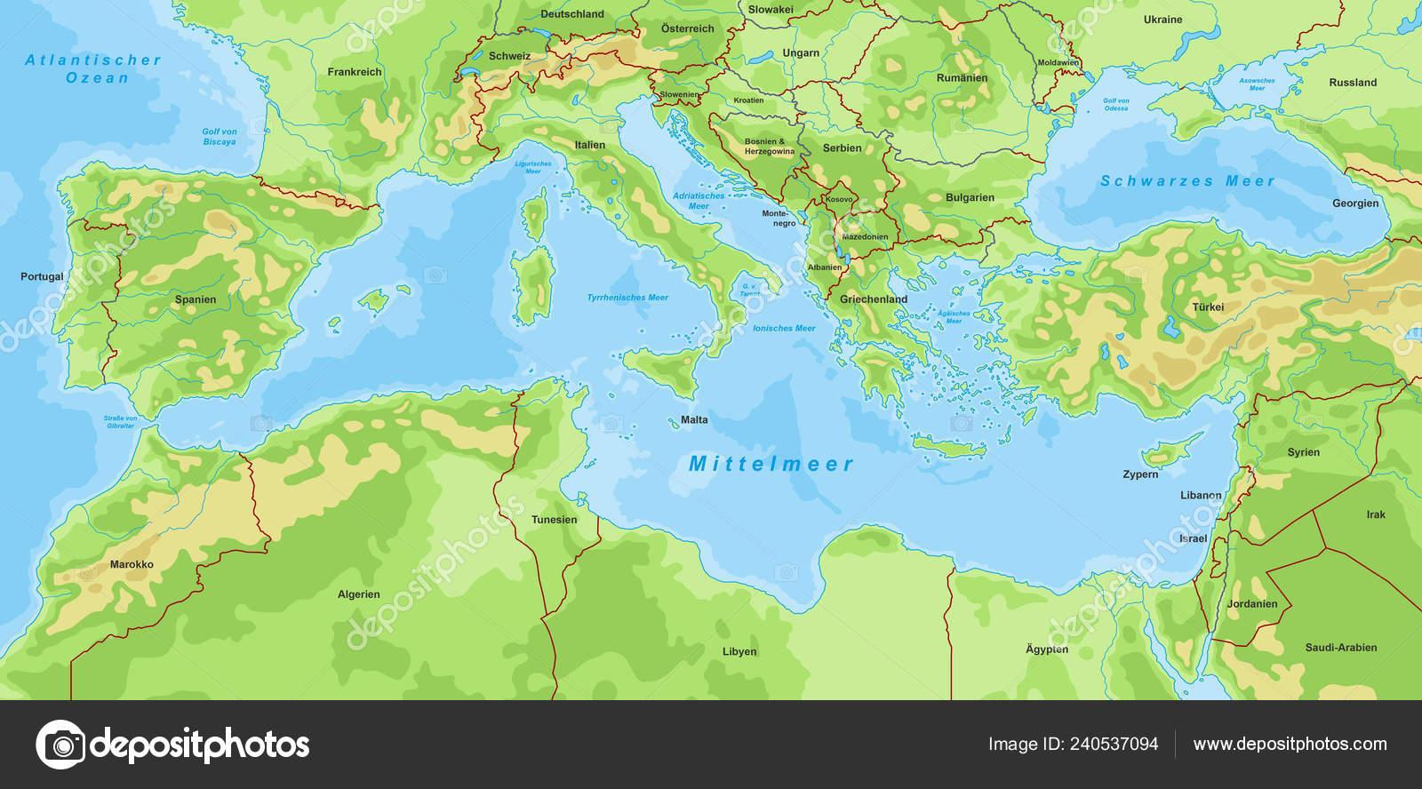 Mittelmeer Karte.Karte Von Mittelmeer Stockvektor Ii Graphics 240537094