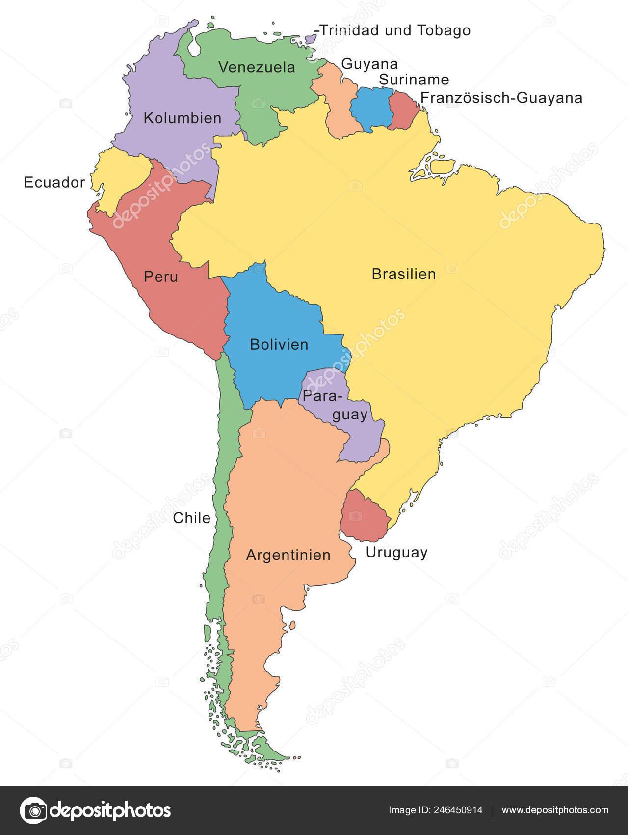 Mapa América Del Sur.Mapa America Del Sur Vector Detallado Alto Vector De Stock