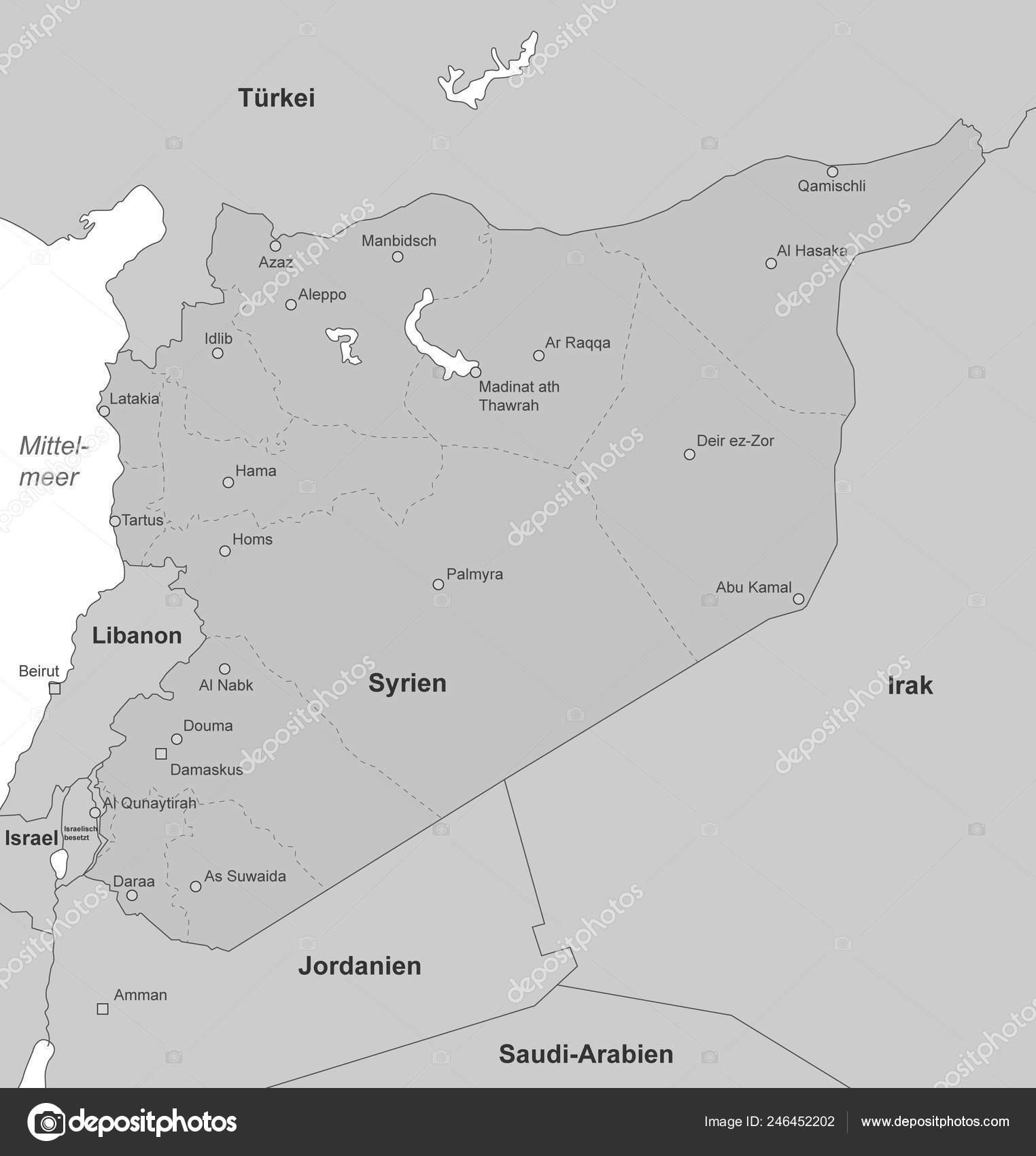 Syrien Karte.Karte Von Syrien Hoch Detaillierte Vektor Stockvektor Ii