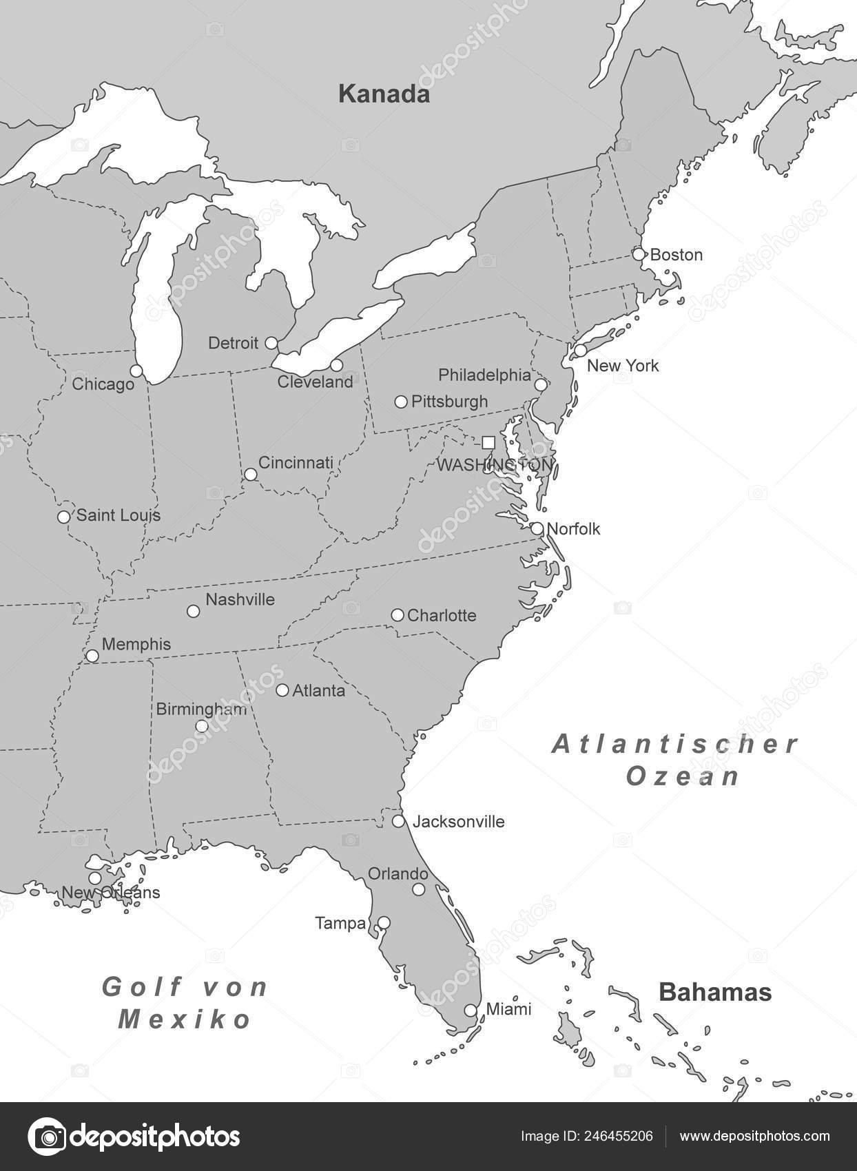Map East Coast United States — Stock Vector © ii-graphics ...