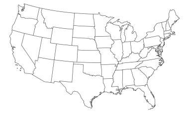 Map of United States of America - high detailed vector