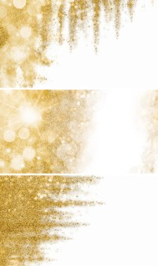 Set of three festive gold glitter backgrounds on white with copy space in abstract patterns for use as design templates for seasonal holiday greetings