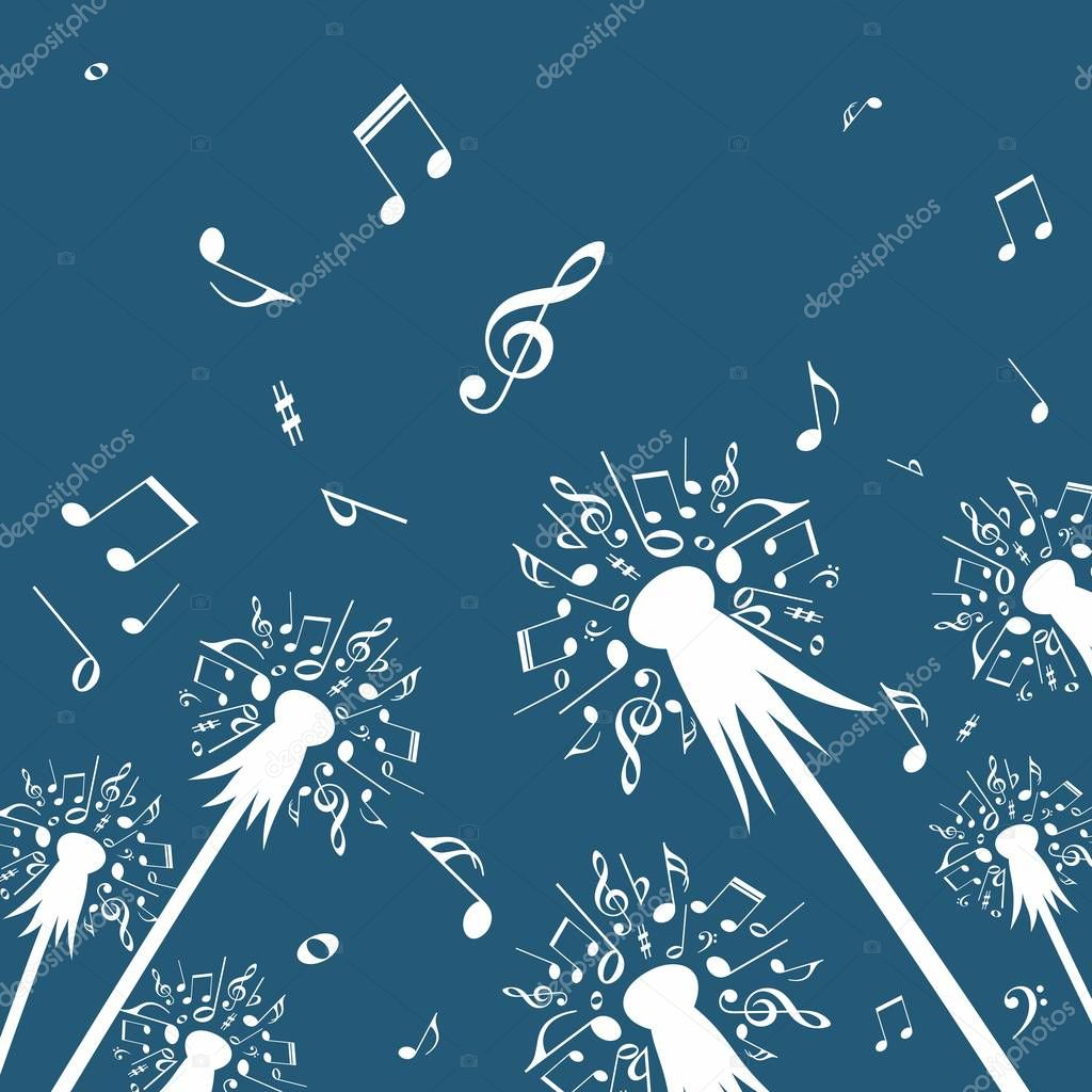 Flowers of dandelion with music notes.