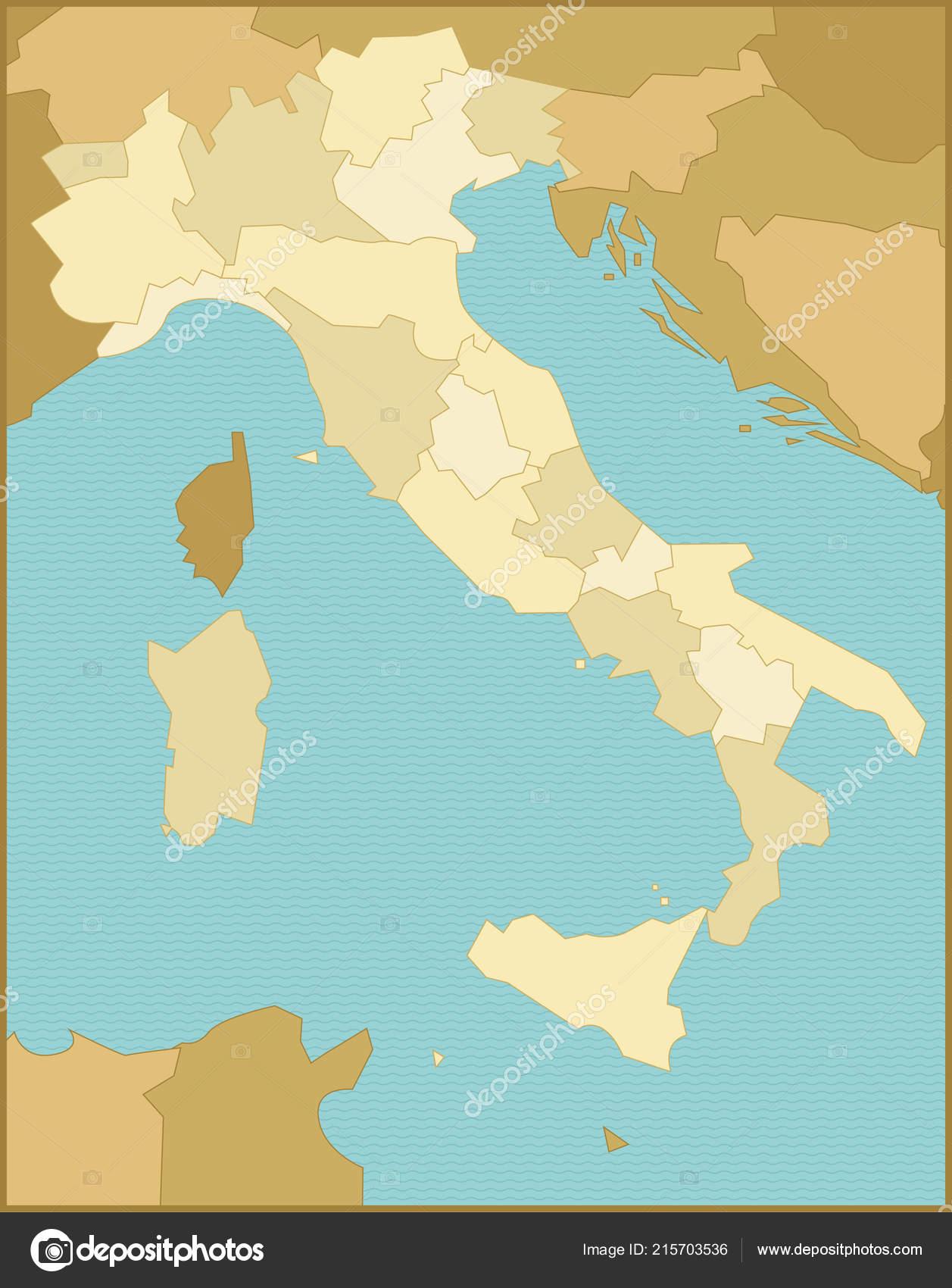 Italien Karte Regionen.Italien Karte Mit Regionen Stockvektor Mauromod 215703536