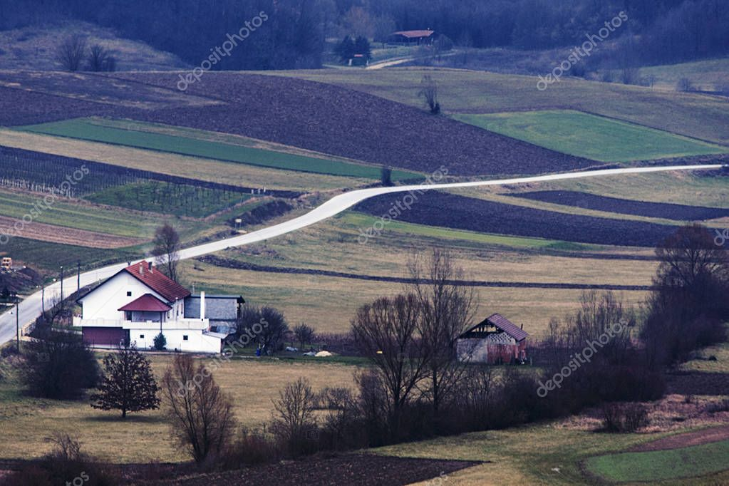 Landscape with cultivated lands in the Croatian countryside