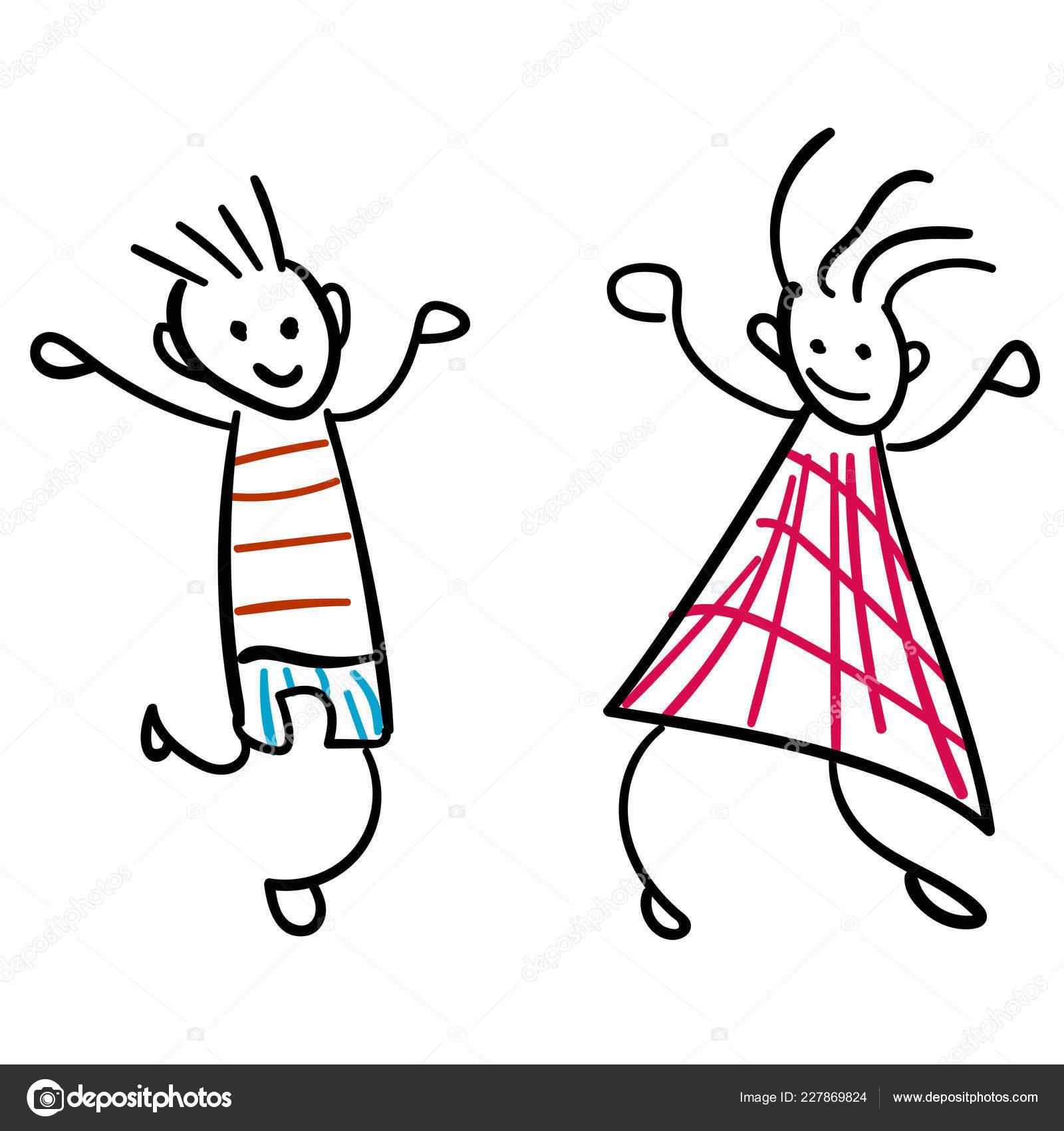 Fille Garçon Dans Style Dessins Pour Enfants Illustration