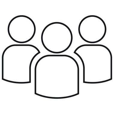 Icon of group of three people. Simple  illustration. Isolated on a white background.