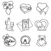 Fotografie Vektor-Set der Valentinstag dating-Elemente. Verlobungsring, Champagner, Brief, Geschenk, Kerzen, Blumenstrauß, Luftballons und Spielzeug Bär für Gruß-und Glückwunschkarten, Symbol, Aufkleber, Logo, Marken und websites