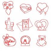 Fotografie niedlichen Cartoon-rote Vektor-Valentinstag-set