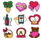 Fotografie niedlichen Cartoon Farbe Vektor Valentines Tag festgesetzt