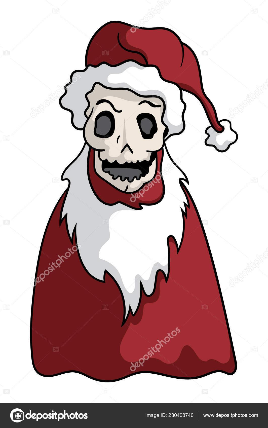 Christmas Skeleton.Cartoon Style Illustration Skeleton Santa Claus Halloween