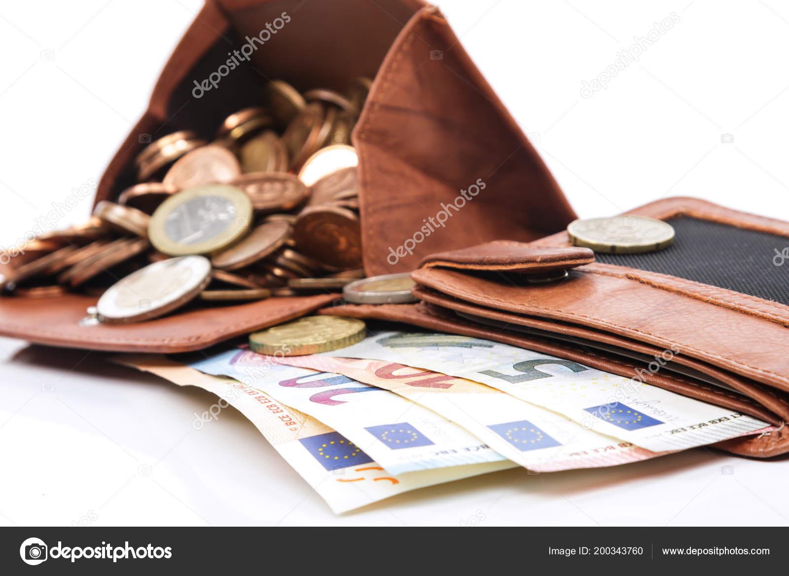 Witte Leren Portemonnee.Lederen Portemonnee Met Geld Witte Achtergrond Stockfoto