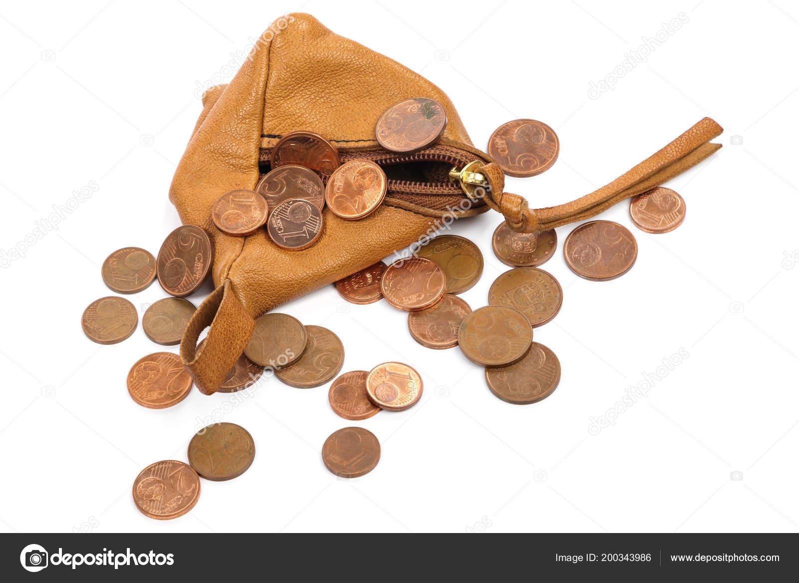 Маленький Кожаный Бумажник Евроцент Монеты Изолированные Белом Фоне
