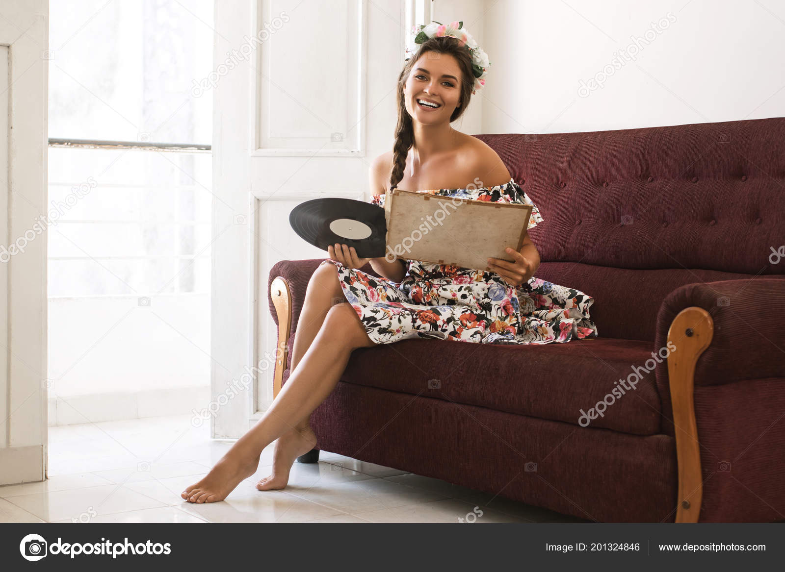 Happy Woman Sitting Sofa Old Vinyl Record Stock Photo C Ay Photo
