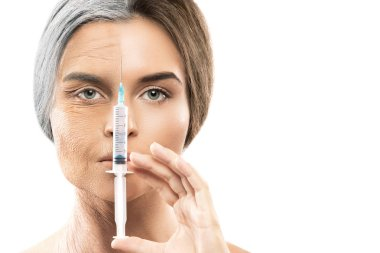 Young and old face comparison. Woman with syringe. Surgery and beauty concept.
