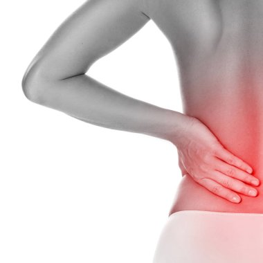 Woman with lower pain back on white background