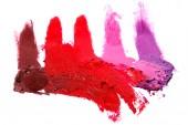 Több különböző színű minták maszatos rúzs fehér háttér