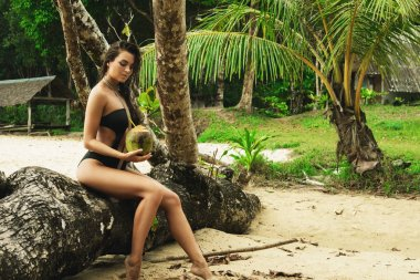 Sexy woman with a coconut drink relaxing on tropical beach