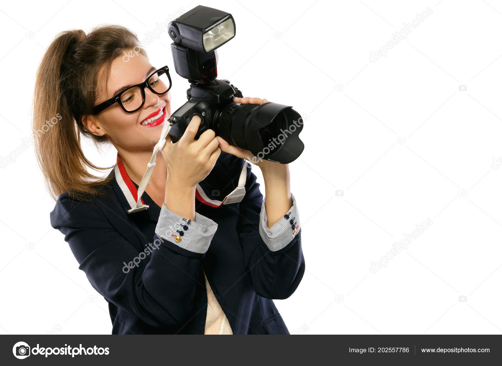 Woman Photographer Dslr Camera Isolated White Background