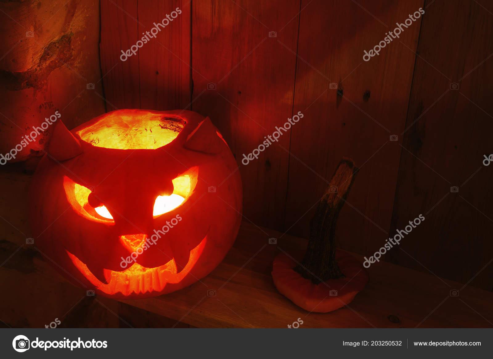 Zucca Halloween Gatto.Fatto Mano Creativo Zucca Halloween Forma Muso Gatto Foto Stock