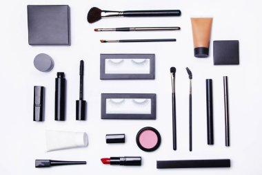 Different makeup objects and cosmetics on white background stock vector