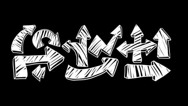 3D rajzfilm animációs kézzel írott fekete és a fehér nyilak a különböző alakú és irány.