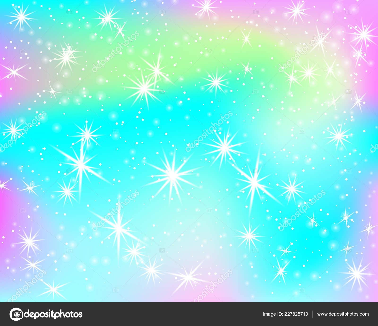 Fond Arc Ciel Licorne Sky Holographique Couleur Pastel
