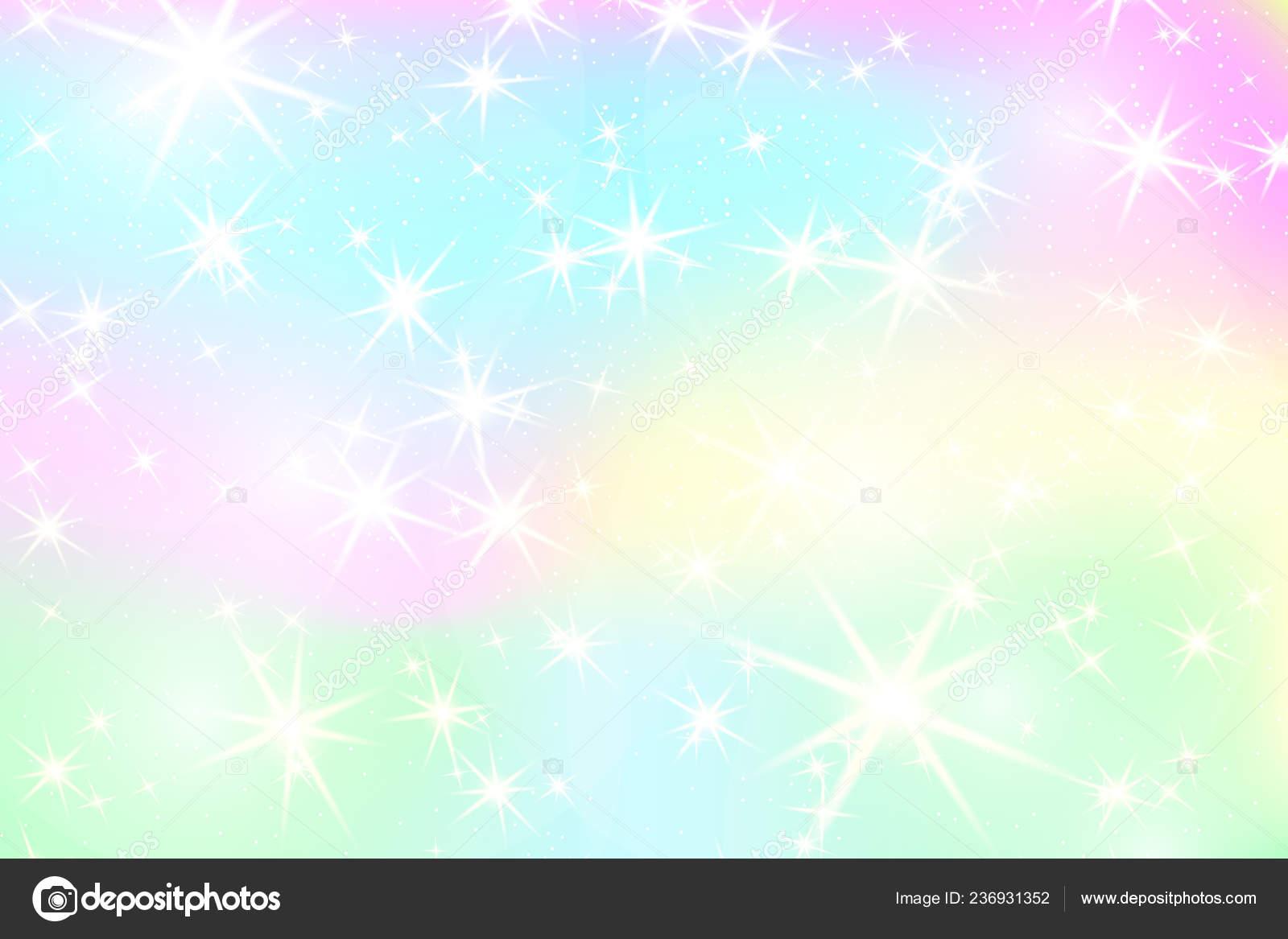 Unicorn Rainbow Background Holographic Sky Pastel Color ...