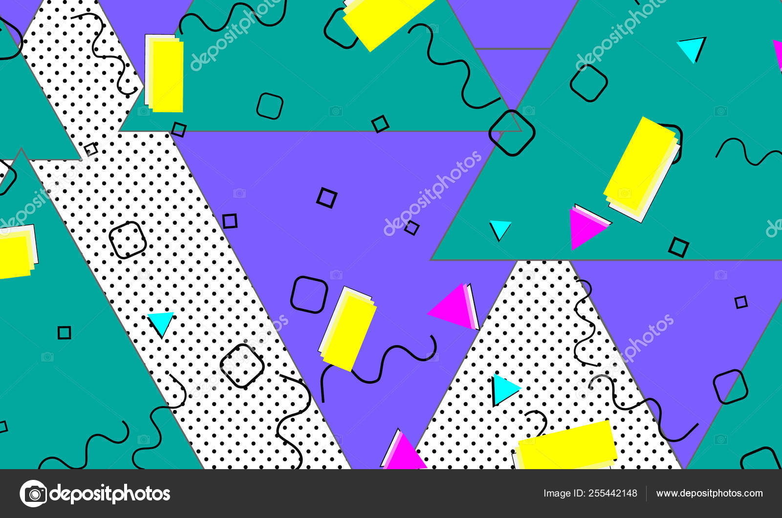 Pop art color background  Memphis pattern — Stock Vector